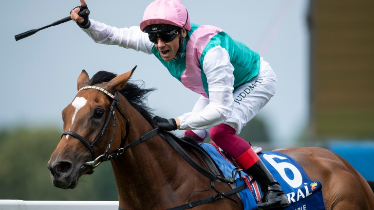 Frankie Dettori celebrates another Group 1 success for his favourite mare Enable in the Eclipse at Sandown
