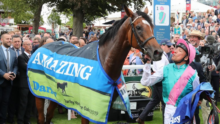 It must be love: Frankie Dettori plants a kiss on Enable after the Yorkshire Oaks