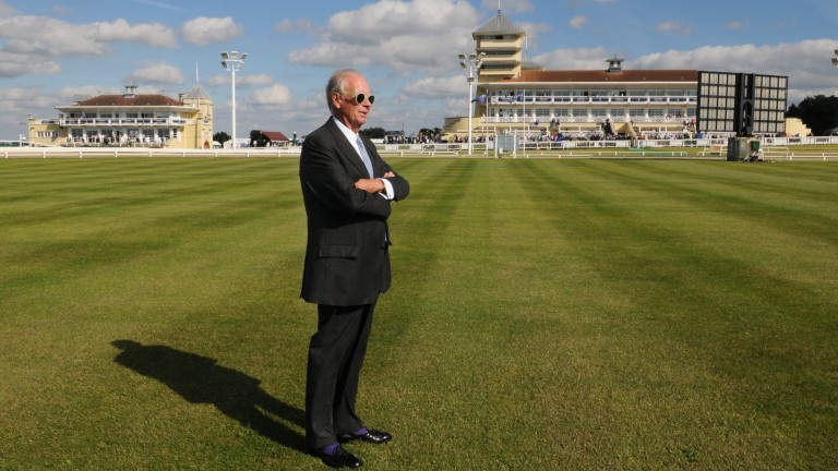 Lord Hesketh takes in the surroundings at Towcester
