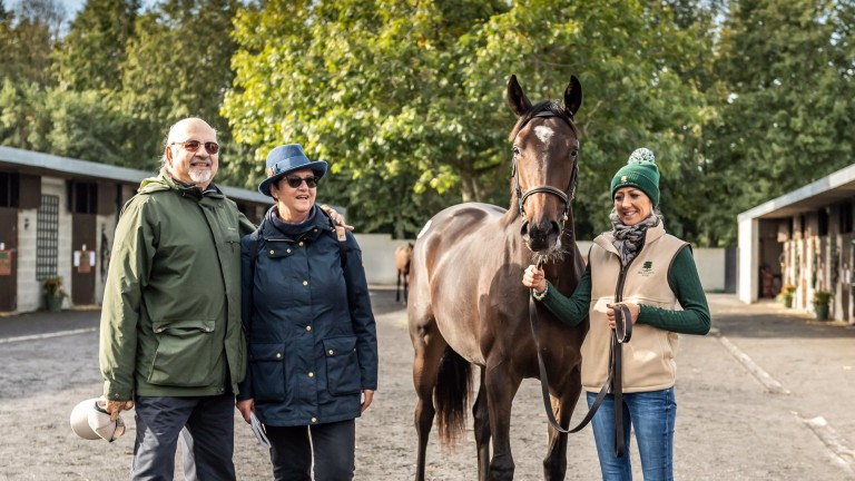 Vimal and Gillian Khosla and Ballylinch Stud yearling manager Lindsey Lenane with the sale-topping Galileo filly out of Green Room