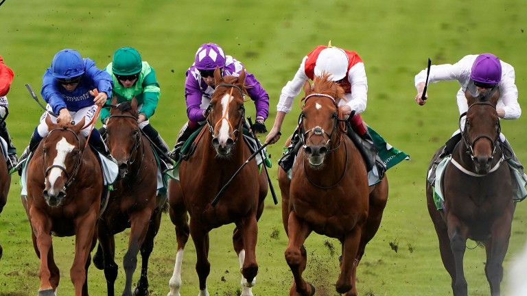 Summer Sands (right) finished third to Earthlight (left) in the Group 1 Middle Park Stakes