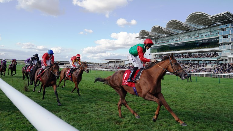 Billesdon Brook wins the Sun Chariot Stakes at Newmarket under Sean Levey