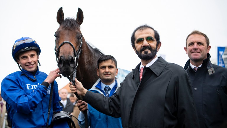 Sheikh Mohammed pictured with Pinatubo following the Dewhurst Stakes