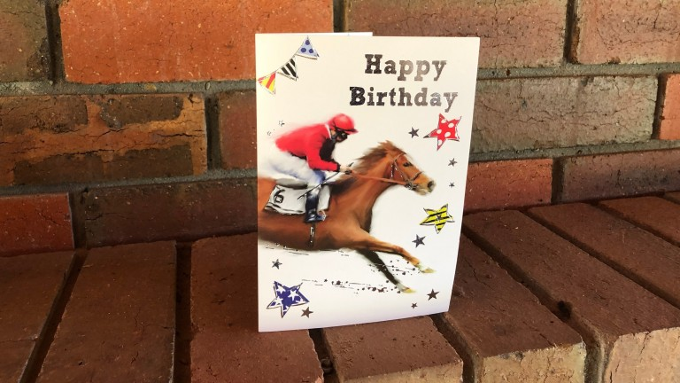 An example of the fanmail sent to Arazi, with this birthday card sent from Dorset