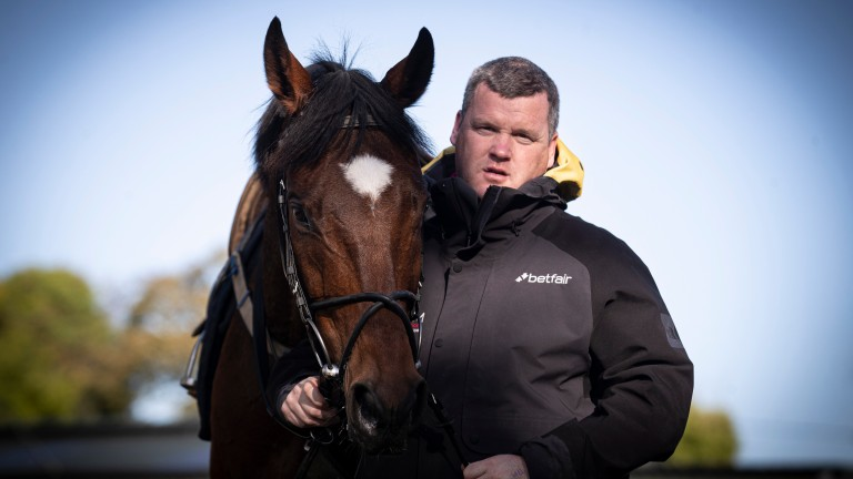 Gordon Elliott with two-time Grand National hero Tiger Roll, who was pulled up on Friday