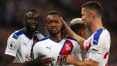 Jordan Ayew of Crystal Palace celebrates after scoring against West Ham United