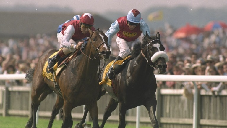 May 1995:  Thierry Jarnet (left) on Pennekamp races past Kevin Darley (right) of Ireland on Celtic Swing during the 2000 Guineas Stakes at Newmarket racecourse, Newmarket, England. Pennekamp went on to win the race. \ Mandatory Credit: Phil  Cole/Allsport