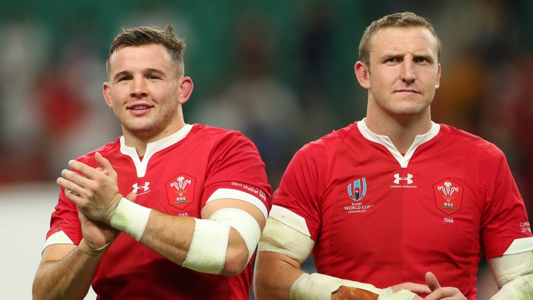 Elliot Dee and Hadleigh Parkes of Wales after the Rugby World Cup 2019 win over France