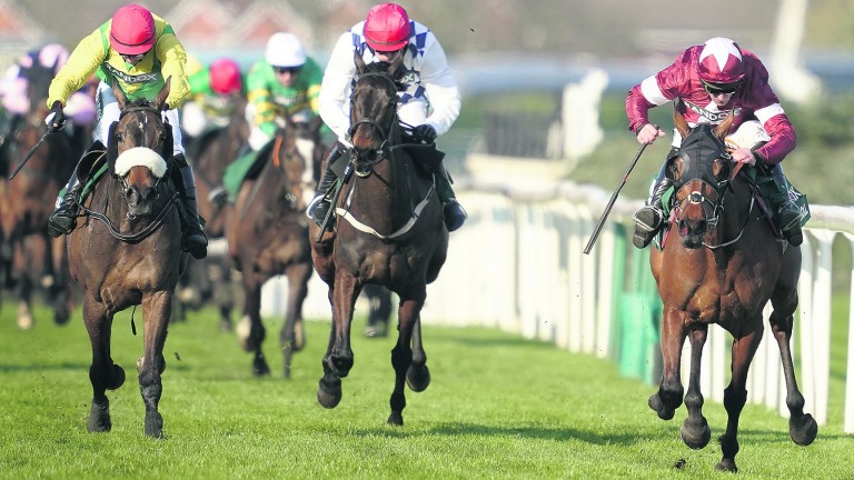 Magic Of Light (left) trying to reel in Tiger Roll in the 2019 National