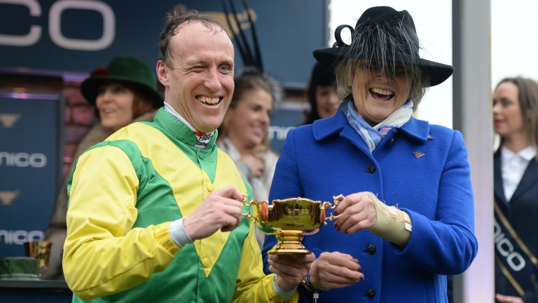 Jessica Harrington and Robbie Power team up with Sizing Pottsie in the Flyingbolt Novice Chase