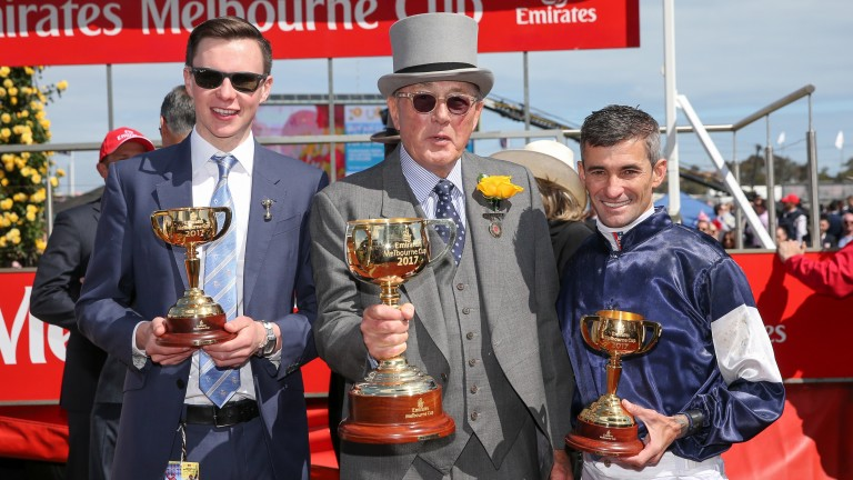 Joseph O'Brien with owner Lloyd Williams (centre) and Corey Brown after Rekindling won the 2017 Melbourne Cup