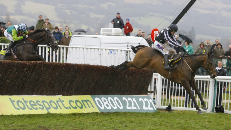 Imperial Commander, one of the novice stars of Cheltenham's first Showcase meeting in 2007, jumps the last clear of Denman in the 2010 Cheltenham Gold Cup