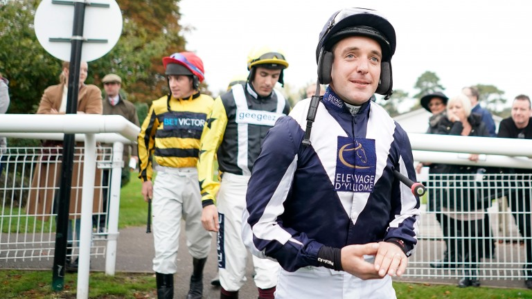 Andrew Tinkler goes out to ride for the final time at Fontwell on Wednesday