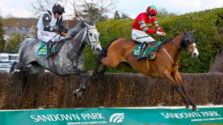 Quentin Collonges and Andrew Tinkler (left) fly the last before going on to win the bet365 Gold Cup in 2013