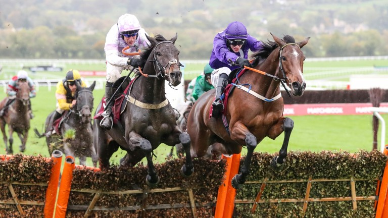 Heaven Help Us (purple): winning at Cheltenham in October