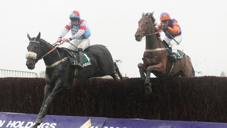 Saint Calvados (left) produced a fine performance on his return to handicap company