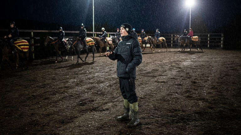 Joseph O'Brien: gives instructions to his riders before morning work