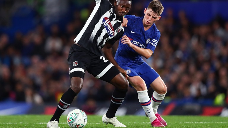 Chelsea's Billy Gilmour (right) in action against Grimsby