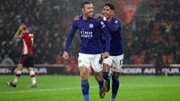 Jamie Vardy and Ayoze Perez celebrate a Leicester goal