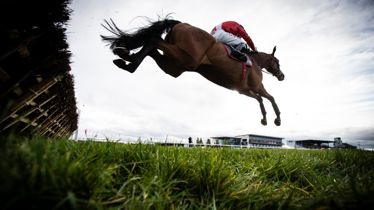 Envoi Allen jumps the last en route to victory in the 2m½f maiden hurdle at Down Royal