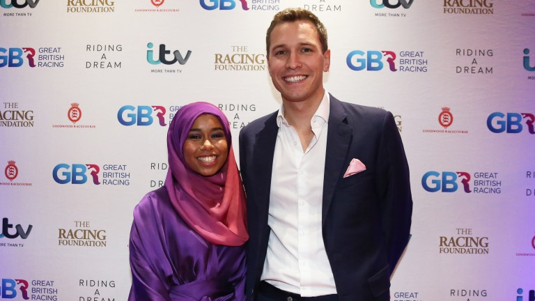 Khadijah Mellah with Oli Bell at the documentary film premiere of Riding a Dream