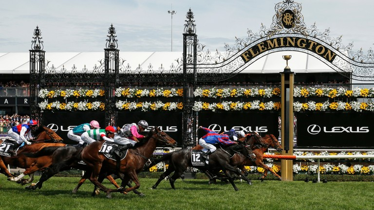 Prince Of Arran (12) is a head and a nose behind Vow And Declare and Master Of Reality at the end of a Melbourne Cup in which he was later promoted to second