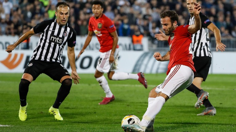 Manchester United's Juan Mata in action against Partizan