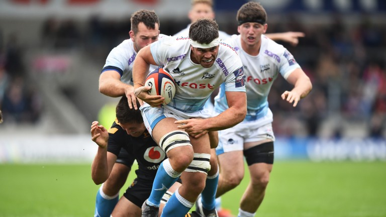 Skipper Jono Ross on the charge for Sale Sharks