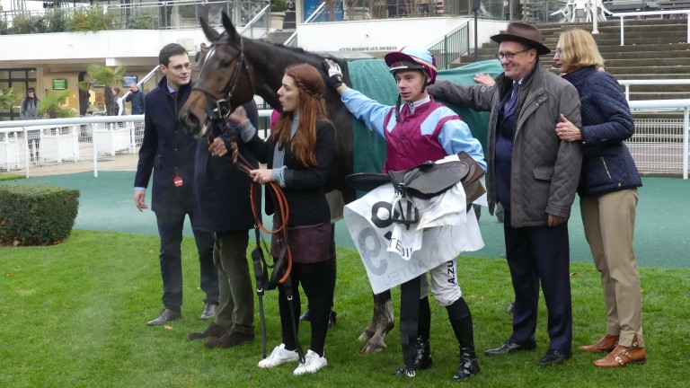 L'Autonomie and jockey Angelo Zuliani after winning the 2019 Prix Renaud du Vivier (Grade 1) at Auteuil