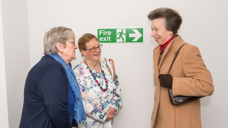 Her Royal Highness Princess Anne Racing Welfare President opens Summerhill House Howard De Walden Way Newmarket Suffolk. Janet Burrows and Margaret Dawson chat with Princess Anne. Picture Mark Westley