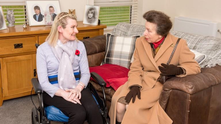 Her Royal Highness Princess Anne Racing Welfare President opens Summerhill House Howard De Walden Way Newmarket Suffolk. Summerhill House Resident Rosalyn Dunne Picture Mark Westley