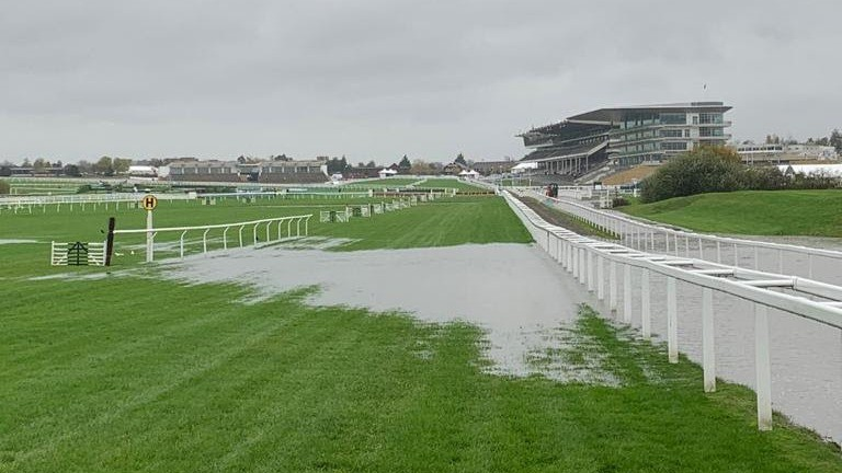 Standing water on the track at Cheltenham
