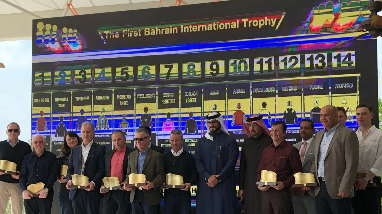 Connections of runners in the inaugural Bahrain International Trophy were present at a beachside draw ceremony