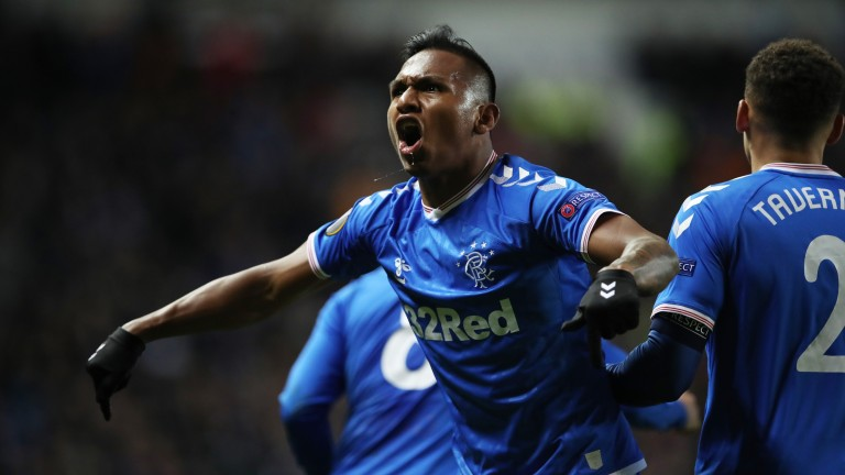 Rangers striker Alfredo Morelos celebrates