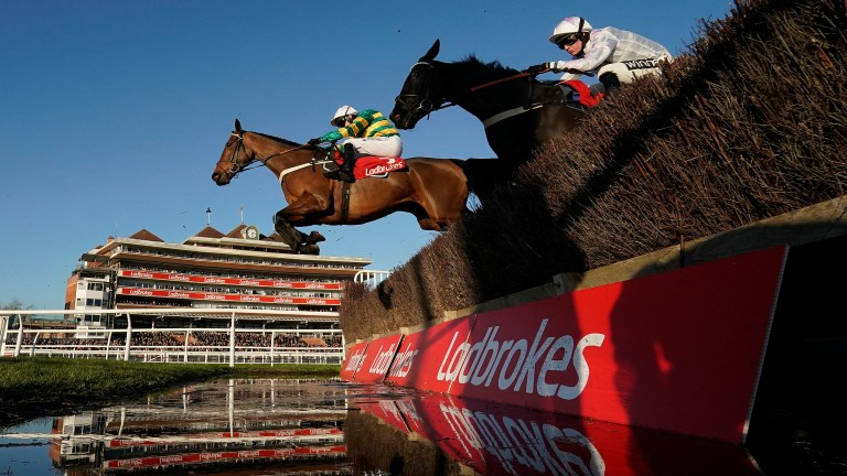 Champ jumps the water fence en route to maintaining his unbeaten run over fences