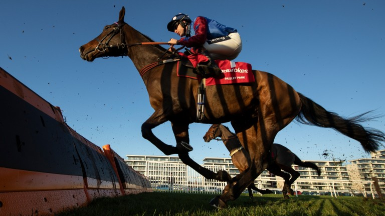 Paisley Park on his way to winning the Long Distance Hurdle