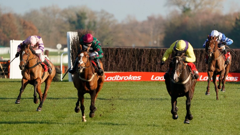 Glen Forsa (second left) ran a mighty race in defeat at Newbury