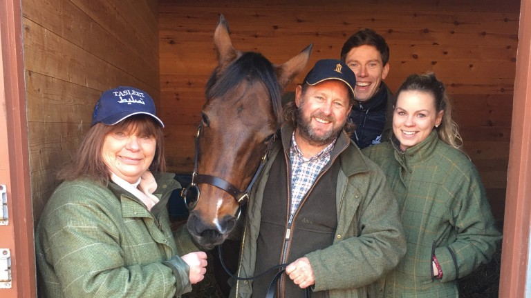 Chrissycross and her elated former owners (l-r) Kim and John Harrod, Tom Pennington and Ellie Harrod