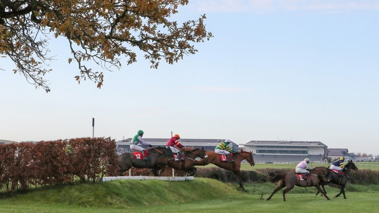 Yanworth (centre) was successful on his first cross-country mission at Punchestown