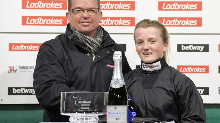 Hollie Doyle with Jason Weaver after her record 107th winner of 2019