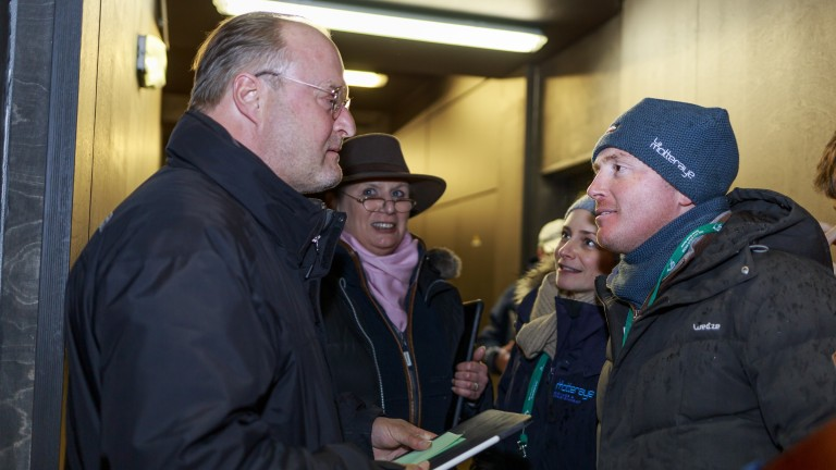 Philipp Stauffenberg (left) after signing for the €190,000 Wootton Bassett filly
