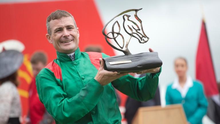 Pat Smullen: celebrates winning the 2016 Irish Derby aboard Harzand