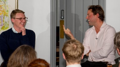 George Scott and Charlie Fellowes discuss the merits of their namesakes at the Off The Bridle syndicate launch