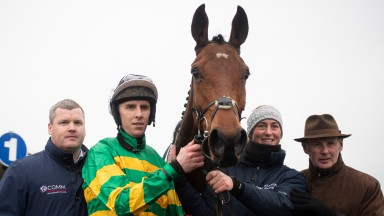 Gordon Elliott, Mark Walsh, Camilla Sharples and Frank Berry with Andy Dufresne after winning the 2m 4f maiden hurdle.Navan.Photo: Patrick McCann/Racing Post 10.11.2019