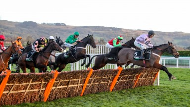 Call Me Lord (green silks) on his way to scoring in the International Hurdle