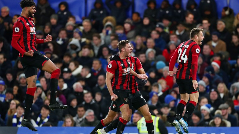 Bournemouth celebrate Dan Gosling's late winner at Chelsea
