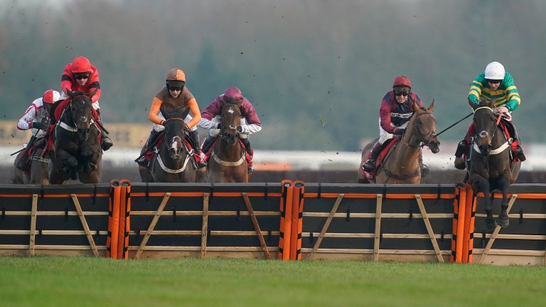 Epatante (right) clears the last in front in the Intermediate Hurdle at Newbury last month