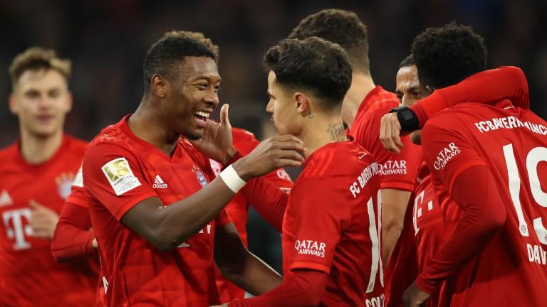 Bayern Munich celebrate a Philippe Coutinho goal against Werder Bremen