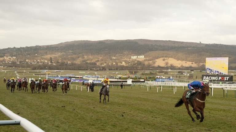 Cue Card and Joe Tizzard make a mockery of their 40-1 odds in the 2010 Weatherbys Champion Bumper at Cheltenham