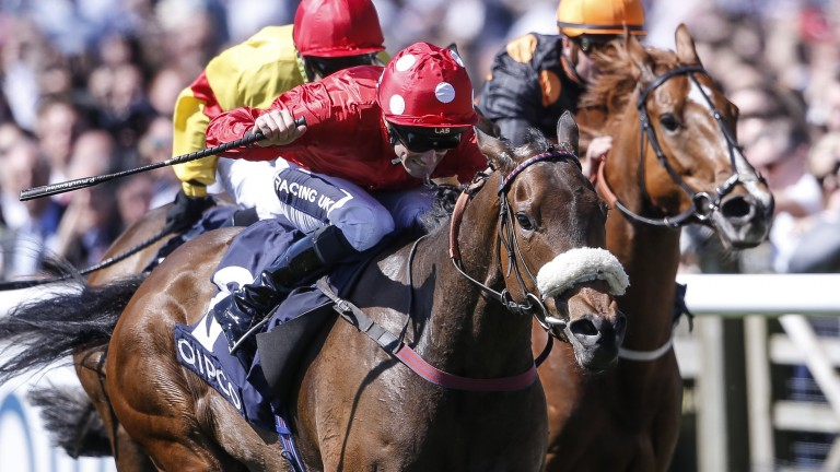 Mabs Cross wins the first of her two Group 3 Palace House Stakes at Newmarket